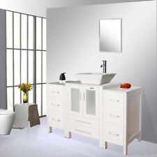 White Bathroom Vanity 48 inch Set W/ White Ceramic Sink Faucet Small Side table