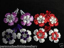 Girls Hair Clip Flower baby flowergirl beach wedding (2x snap hairclip )