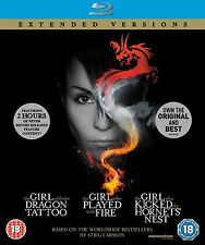 ❏ The Girl With The Dragon Tattoo Extended Version Trilogy Blu Ray Millennium ❏