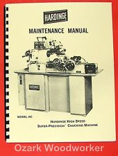 Hardinge Hc Chucking Chucker Lathe Service And Maintenance Manual 0338
