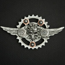 WINGED SKULL PEWTER CONCHO BIKER PIN WITH .45 CALIBER SHELLS AND SCREW ON POST