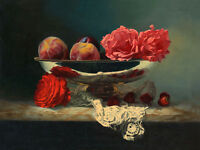Large oil painting beautiful still life roses flowers & peach Strawberries 36""