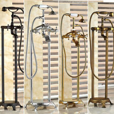 Free Standing Bathroom Bathtub Mixer Faucet Shower System&Hand Spray Floor Mount