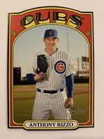 """2021 Topps Heritage ANTHONY RIZZO """"DIE-CUT MINI '72"""" SP black border Cubs"""