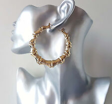 Gorgeous 7cm gold tone bamboo creole style hoop earrings. Big Celebrity fashion!