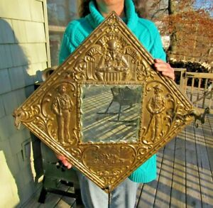 ANTIQUE 1890's USS OLYMPIA OUR NATIONS PRIDE EMBOSSED TIN OVER WOOD MIRROR