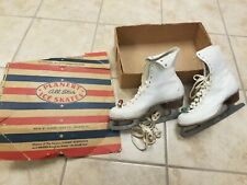 Vintage Planert All Star womens ice skates with box - size 7 - 1940s - white