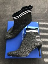 New Stuart Weitzman Black Knit Metallic Slip On Ankle Booties Size 8.5