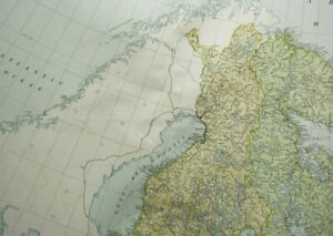 1919 LARGE MAP RUSSIA NORTH WEST & FINLAND KUOPIO ULEABORG LAPLAND