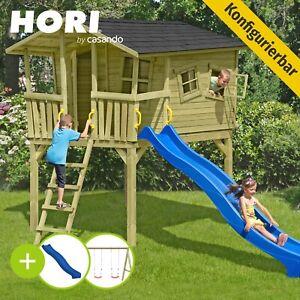 Hori Spielturm Rutsche Schaukel Klettergerüst Spielhaus Stelzenhaus Holz Garten