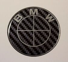 BLACK CARBON EFFECT BMW Sticker/Decal  58mm DIAMETER HIGH GLOSS DOMED GEL FINISH