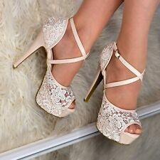 Ladies Stiletto Platform Heels Strappy Open Toe Sandals Lace Embellished Shoes