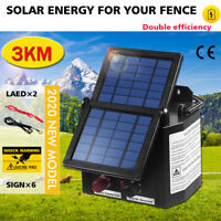 NEW Solar Electric Fence Energiser 3km Energizer Charger 0.1J Farm Charger Tape
