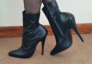 Black Matt Leather Ankle Boots Stiletto Heeled With Inside Zip Size 7 EU 40