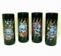Ed Hardy Black Tall Shot Shooter Glasses Skull Do or Die Death or Glory Set of 4
