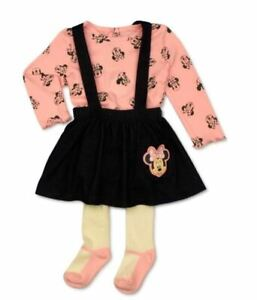 Disney Minnie Mouse Baby Girl Jumper Dress, Top & Tights, 3pc set Size 12M