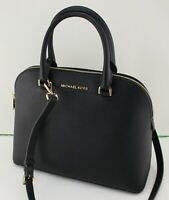 NEW AUTHENTIC MICHAEL KORS CINDY BLACK LG LARGE DOME SATCHEL WOMEN HANDBAG