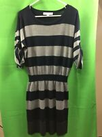 8937) ANN TAYLOR LOFT medium gray navy blue stripe wool sweater dress at knee M