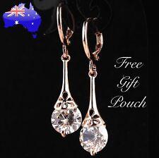 Rose Gold White Crystal Water Drop Teardrop Dangle Pierced Earrings Women's Gift