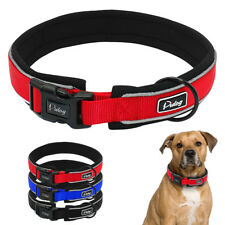 Large Dog Collar Reflective Nylon Strong Black Red Blue Padded Extra Large Small