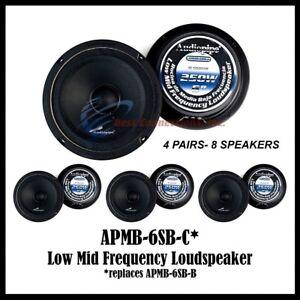 "4 Pairs Audiopipe APMB-6SB-B 6-6"" Car Audio Loudspeakers Sealed Back 8 Pieces"