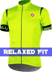 """Castelli Cento Men's """"Relaxed Fit"""" Cycling Jersey : Florescent Yellow"""