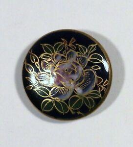 "Vtg Satsuma Japanese Hand Painted Ceramic Porcelain BUTTON Flower 1 1/8"" Blue"