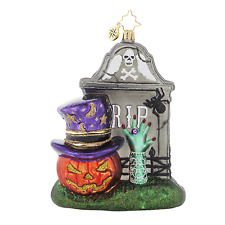 RADKO FRIGHTENING ENCOUNTER Tombstone Glass Ornament Halloween New