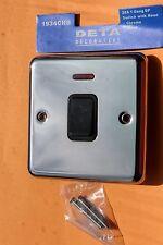 Box 5 x Deta 1934CHB Polished Chrome 20A DP 1G switch + neon Black Insert/switch