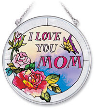"I Love You Mom Sun Catcher AMIA Pink Roses Butterfly Hand Painted Glass 4.5"" New"