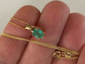 VINTAGE STERLING SILVER GENUINE EMERALD PENDANT NECKLACE 9CT GOLD PLATED