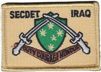 Army Australia SECDET Iraq Deployment Patch hook backing