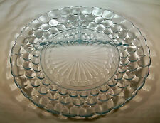 """ANCHOR HOCKING GLASS CO. BUBBLE SAPPHIRE BLUE 9-3/8"""" DIAMETER 3-PART GRILL PLATE"""