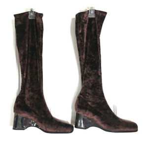 Bruno Magli Womens Sock Boots Maroon Velour Velvet Knee High Square Toe Sz 39 9