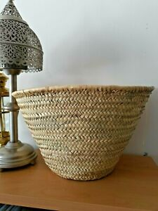 Moroccan Palm Fibre Beach Shopping Basket Free PP Excellent Quality H26xW44cm