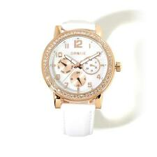 DRONE PRECISION TIMEPIECES WHITE LEATHER STRAP CRYSTAL BEZEL ROSETONE WATCH HSN