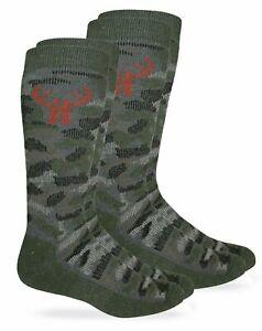 Huntworth Mens Camouflage 40% Merino Wool Cushion Insulated Tall Boot Socks 2PK