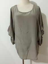 Pookie & Sebastian Silk Top Blouse Taupe Size S