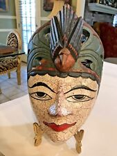Vtg. Indonesian Ceremonial Hand-Carved Wood Mask Headdress Hanging Wall Plaque
