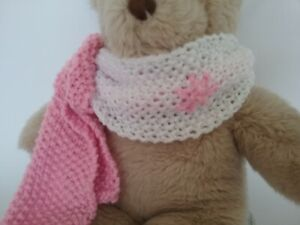 Teddy Bear Clothes, 'Aster' Pink & White Hand Knitted Scarf for bears,dolls,toys