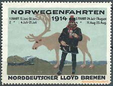 Reklamemarke Norddeutscher Lloyd Bremen, NORWEGENFAHRTEN 1914 m.Daten (#25633)