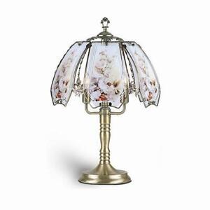 Hummingbird scene glass panels 3 brightness touch Lamp antique Brass finish