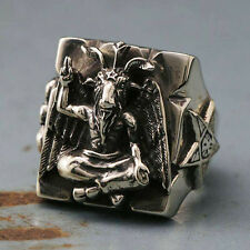 Ring sterling silver Seal of Satan Baphomet Pentagram Sigil Illuminati Goat cool