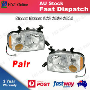 Pair Head Light Lamp For Nissan Navara D22 UTE 2001-2014 Left and Right LH+RH