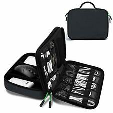JESWO Cable Organiser Bag, Electronics Organizer Cable Tidy Bag Double Layer for