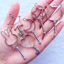 Kawaii Open Bezel Charm Magical Girl Key Pendant Magic Wand UV Resin Crafts