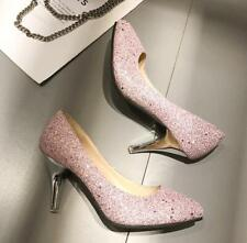 Sexy High Heels Women's Shoes Sequins Pumps Bridals Wedding Shoes large size