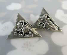 Vintage Peyote Flower Leaf Men's Unique Collar Tips IN Solid 925 Sterling Silver