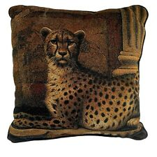 "Tapestry Style Cheetah Wild Cat Accent Pillow 17"" Square Decorative Brown Black"