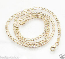 """19"""" 7.8gr Pave Figaro Chain Necklace Real Solid 14K Yellow White Gold ITALY"""